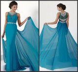 Chiffon Evening Party Prom Gowns Blue Beaded Mother of Bride Dress Z1002
