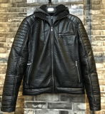 Black Motorcycle Men Leather PU Jacket with Tc Grey Hood