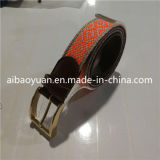 Brown Tanned Leather and Polyester Jointed Belt with Gold Buckle
