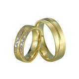 Fashion IP Gold Plated Men′s and Women Couple 316L Stainless Steel Finger Ring Wholesale