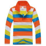 Cheap Long Sleeve Stripes Children Polo Shirt
