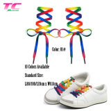 Custom Sublimation Printing Flat Colorful Shoelace Stock Printed Rainbow Shoe Lace for Wholesale