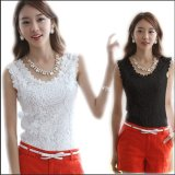 Sleeveless White Black Crochet Casual Shirts Tops