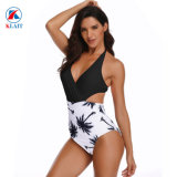 Sexy Women′s One Piece High Waist Backless Halter Floral Print Swimwear