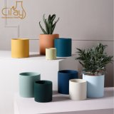 Nordic Style Morandi Colors Cylinder Ceramic Flower Pot with Drainage Holes and Saucers