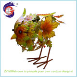 Autumn Style Metal Home and Garden Leaves Bird Decorations with Solar LED Lights