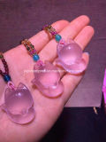 Wholesale Pink Fox Crystal Pendant Natural Crystal