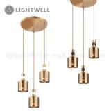 Iron Decorative hanging Lighting 3LT Antique Brass pendant Lamp with round canopy