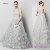 A-Line Sexy One Shoulder Sweep Brush Train Tulle Evening Dress with Flower Criss Cross