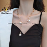 Customized Fashion OEM Yellow Gold Plated Alloy Pearl Jewelry Necklace