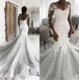 Sheer V-Neck Bridal Gown Long Sleeves Mermaid Silver Tulle Lace Wedding Dress 2021 A201762