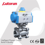 Dn25 CF8 Stainless Steel Spring Return Pneumatic 3-Piece Ball Valve