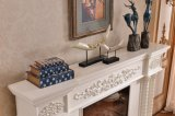 White Wood Fireplace with Flower Carving for Indoor Decoration
