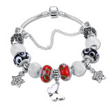 Fashion Silver Plated Jewelry DIY Butterfly Star Beaded Charm Bracelet