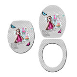 Three Sides Printed Moulded Wood Toilet Seat