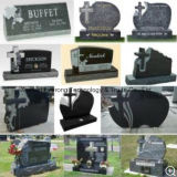 Cross Design Upright Headstone, Shanxi Black Cross Granite Tombstone From Factory Directly