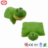 Green Frog Plastic Eyes Cute Soft Stuffed 2in1 Plush Pillow