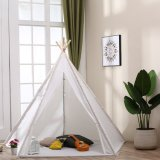 Teepee Kids Tent 6' Indoor Outdoor Children Indian Play Tent 5 Wooden Poles Canvas Tipi White with Carry Bag