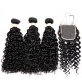 Human Hair Water Wave Hair Weave 3 Bundles with 4*4 Lace Closure