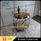 Golden Chrome Steel Dining Trolley for Restaurant