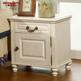Home Furniture Series White Paint Red Oak Bedside Cabinet (GSP14-012)