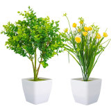 2 Pack Artificial Plants in Pots for Home Decor Indoor Aesthetic, Faux Fake Flowers Eucalyptus Greenery Real Touch Floor Leave for Desk and Shelf in Bathroom