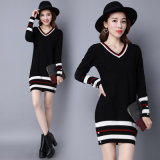 High Quality Spring Autumn Long Sleeve Pullover Knitting Dress Solid Custom Knitted Women Sweater