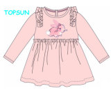 Long Sleeves Solid Cotton Kids Skirt Print Breathable Loose Little Girls Casual Dresses
