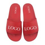 PVC Beach Men Red Slippers, Fashion Red Sandals for Men Printed Comfy Slippers, Slipper Wholesale Custom Logo Blank Slide Sandal