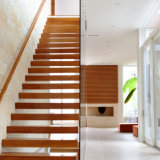 High Quality Customized Steel Stairs Modern Wooden Railing Floating Staircase