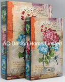 S/2 Elegant Floral Design PU Leather/MDF Wooden Printing Storage Book Box