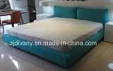 European Style Bedroom Wooden Leather Fabric Bed (A-B42)