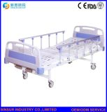 Hospital Furniture Manual Double Crank Aluminum-Alloy Guardrail Medical Nursing Bed/Beds
