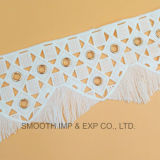 Embroidery Trim Metal Water Soluble Lace with Eyelets Fabric Cotton