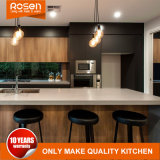 Wood Timber Veneer with Grey Lacquer Kitchen Furniture