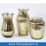 Golden Home Decoration Glass Vase, Table Flower Glass Vase