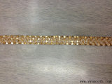 Gold Chain Lace Trimming Pearl Rhinestone Round Beaded Garment Accessories
