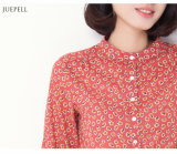 100% Cotton Blouse Casual Floral Printed Girls′ Shirt for Summer