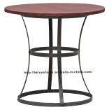 Modern Industrial Round Metal Dining Restaurant Vintage Wooden Table