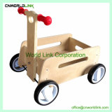 Natural Wooden Pull and Push Go Cart Kids Play Baby Cart Toy