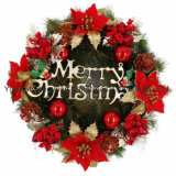 Green Merry Christmas Wreath Pre-Lit Christmas Gift Wreath Decorations Wedding Home Decorations
