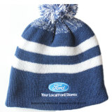 Factory Produce Promotional Blue Acrylic Knitted Winter Beanie Cap