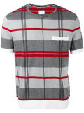 Men′s Grey and Red Cotton Check Knit T-Shirt