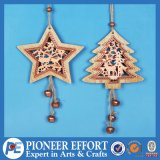 Wooden Delicate Design with Star and Mini-Tree for Hanging Ornament Decoration