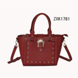 Red PU Shoulder Tote Handbag with Silver Metal Decoration (ZXK1761)