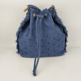 Wholesale Price Summer Style Blue Canvas Printed Stars Ladies Drawstring Bag