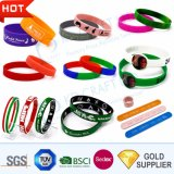 Custom RFID Rubber Silk Screen Printed Silicone Slap Smart Bracelet Customized Engraved USB Mosquito Imprinted Debossed Silicon Wristband for Promotional Gift
