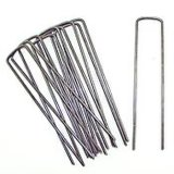 100pack Anti-Rust 6'' 11 Gauge Heavy-Duty U-Shaped Garden Securing Pegs Galvanized SOD Staples Ideal for Securing Weed Fabric, Landscape Fabric, Ground Cloth