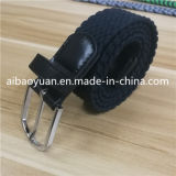 Black Braided Strap Detailed Knit Polyester Yarns Belt