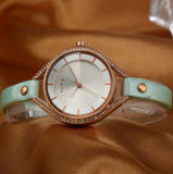 Customized Leather Strap Alloy Case Quarts Cassuel Watch for Couples (WY-001E)